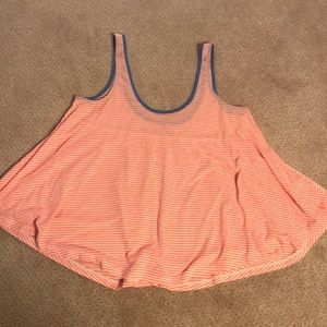 American Eagle peach& white striped tank/blue trim